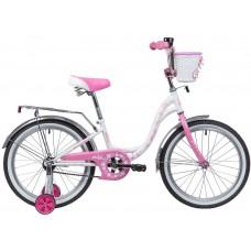 "Велосипед Novatrack Butterfly 20"" белый-розовый 2020"